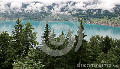 Beautiful turquoise lake Brienz in alpine mist