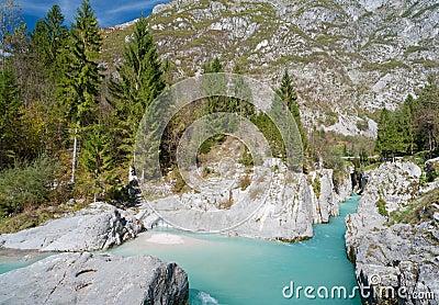 Beautiful turquoise mountain river. Soca
