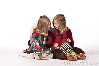 Beautiful twin girls at Christmas