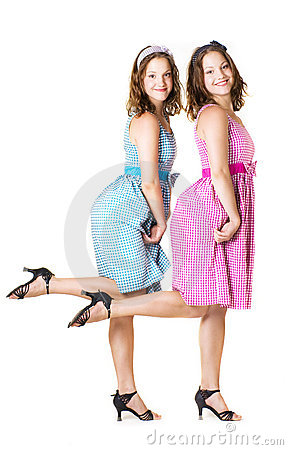 Beautiful twins sisters