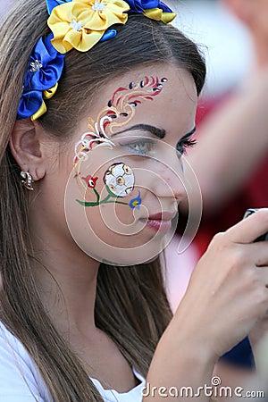 Free Beautiful Ukrainian Fan Girl Royalty Free Stock Photography - 25521747