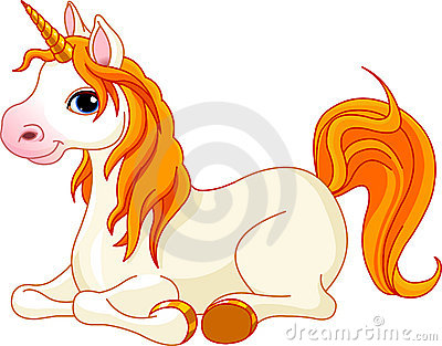 Beautiful unicorn with red mane and tail Stock Photo