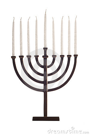Beautiful unlit hanukkah menorah on white