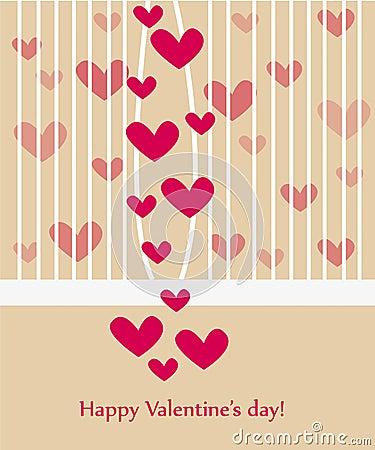 Beautiful valentine greeting card wiht hearts