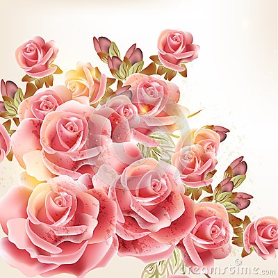 Free Beautiful Vector Background In Vintage Style With  Rose  Flowers Royalty Free Stock Photo - 32478065