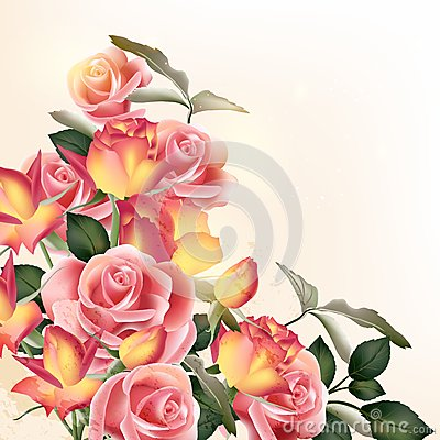 Free Beautiful Vector Background With  Roses Royalty Free Stock Photos - 39289288