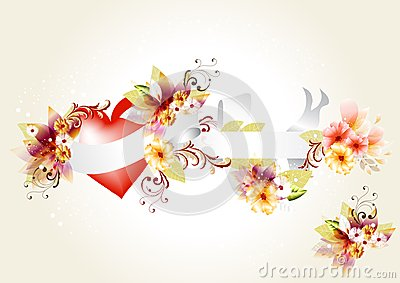 Beautiful vector floral  heart with banner: