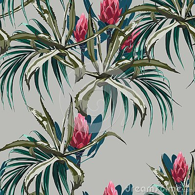 Free Beautiful Vector Floral Seamless Pattern Background With Agave And Protea Flowers Stock Image - 125552881