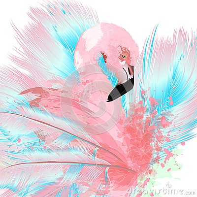 Free Beautiful Vector Illustration With Drawn Pink Flamingo And Blue Royalty Free Stock Photography - 110061177