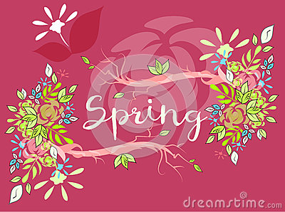 Beautiful vector lettering on spring season Vector Illustration