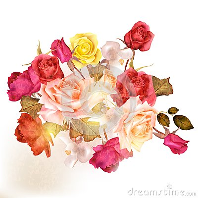 Free Beautiful Vector Roses Painted In Watercolor Vintage Style Stock Photos - 47087313