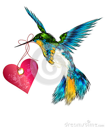 Free Beautiful Vector Valentine Card With Hummingbird Holding Pink H Royalty Free Stock Image - 28549306