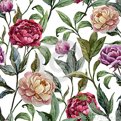 Free Beautiful Vector Watercolor Pattern With Peonies Royalty Free Stock Images - 46918349