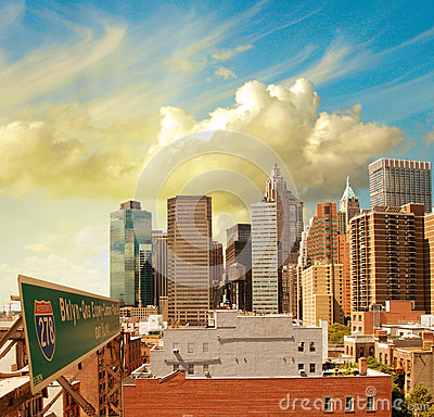 Beautiful view of Lower Manhattan Skyline and tall Skyscrapers -