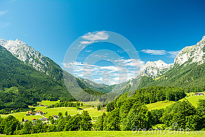 Beautiful view of nature and mountains near Konigssee lake, Bavaria, Germany Stock Photo