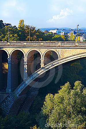 Free Beautiful View Of Luxembourg City Bridge Royalty Free Stock Image - 21465856