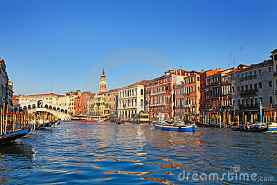 Beautiful view of Venice and Rialto Bridge