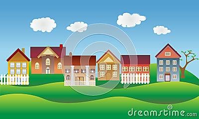 Beautiful village or neighborhood