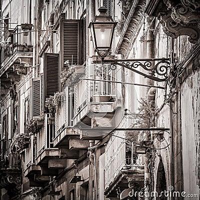 Free Beautiful Vintage Balconies And Street Lamp In Old Mediterranean Stock Image - 32938711