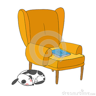 Beautiful vintage chair notebook and a cute dog stock for Cute white chair