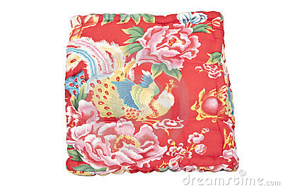 Beautiful vintage red pillow with bird