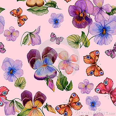 Free Beautiful Vivid Viola Flowers Leaves And Bright Butterflies On Pink Background. Seamless Spring Or Summer Floral Pattern. Stock Photography - 113454422