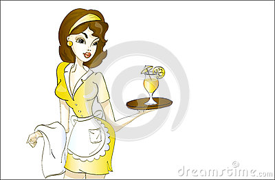 Beautiful waitress in yellow uniform with cocktail