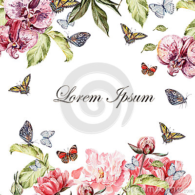 Free Beautiful Watercolor Card With Peony Flowers And Orchid Flower. Butterflies And Plants. Royalty Free Stock Images - 64321129
