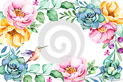 Beautiful watercolor frame border with roses,flower,foliage,succulent plant,branches,hummingbird. Cartoon Illustration