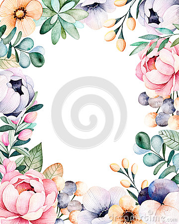 Beautiful watercolor frame border with roses,flowers,leaves,succulent plant Cartoon Illustration