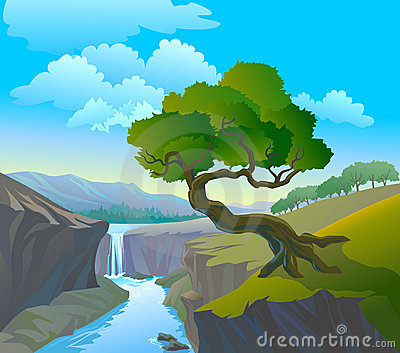 Beautiful Waterfall And Tree