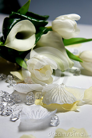 Beautiful wedding bouquet of white callas and tulips