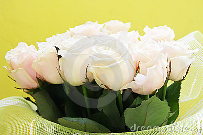 Beautiful wedding bunch of pale pink roses