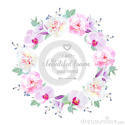 Free Beautiful Wedding Floral Vector Design Round Frame Stock Photo - 88684150