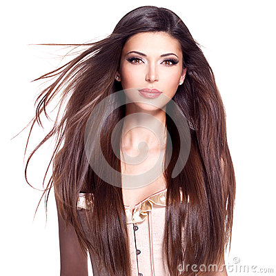 Free Beautiful White Pretty Woman With Long Straight Hair Royalty Free Stock Photos - 44497178