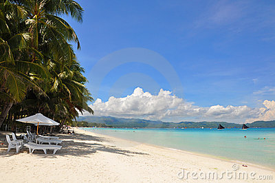 Beautiful white sand beach in Boracay