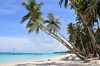 Beautiful white sand beach in Boracay