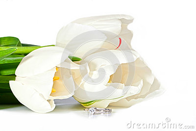 Beautiful white spring tulips and diamond ring
