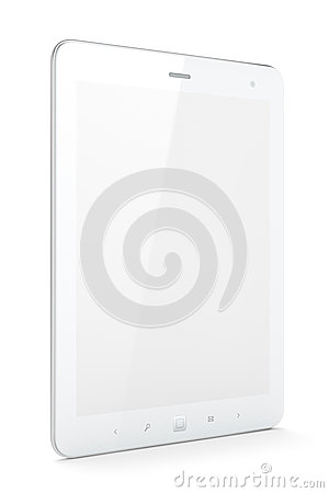 Beautiful white tablet pc on white background
