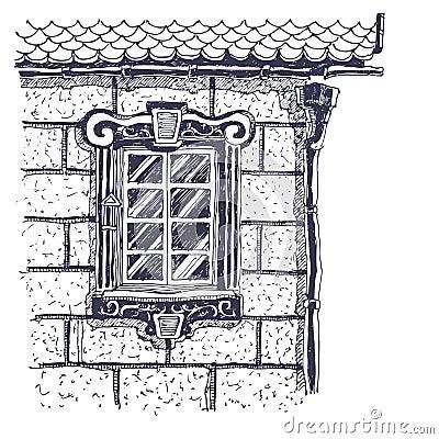 Beautiful window on the brick wall near edge of ho
