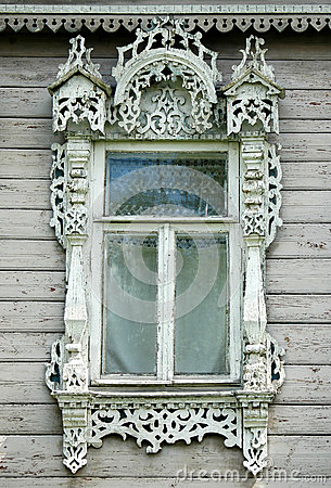 Free Beautiful Window In Wooden Russian House Stock Images - 50315144