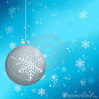 Beautiful winter background with silver globe