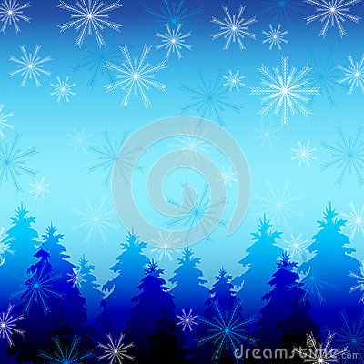 Beautiful winter background with snowflakes and fi