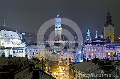 Beautiful winter cityscape in the center of Lvov city