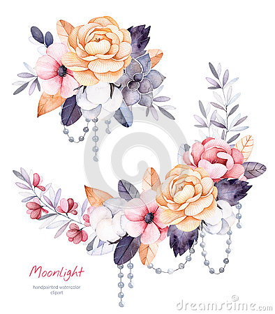 Free Beautiful Winter Collection With Branches,cotton Plants,flowers,strings Of Pearl Stock Photos - 78636903
