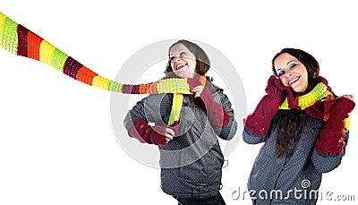 Beautiful winter girl in  colorful scarf