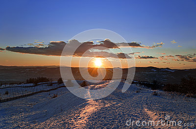 Beautiful winter sunset landscape
