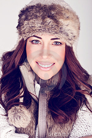 Beautiful Winter Woman In Subtle Make-up