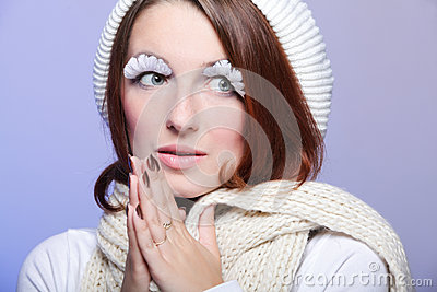 Beautiful winter woman with white eye-lashes
