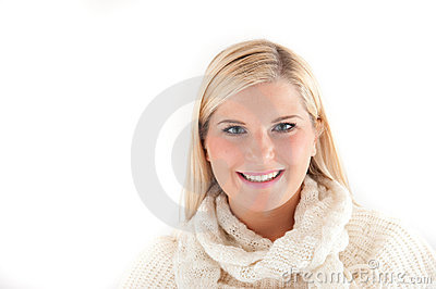 Beautiful winter woman in white scarf